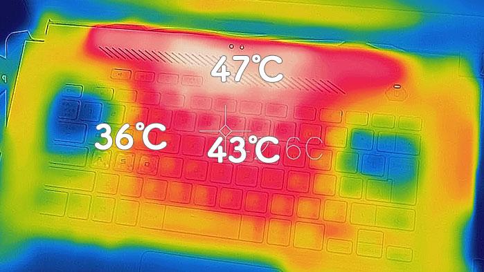 ASUS TUF Dash F15の筐体温度