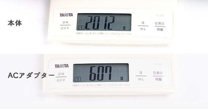 Core i7-10875Hモデルの重量