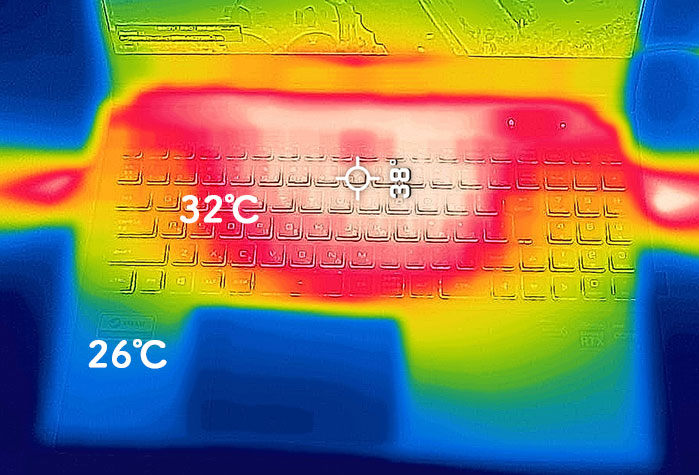 Core i7-11800H搭載モデルの筐体の温度